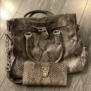 Michael Kors snakeskin purse and matching wallet